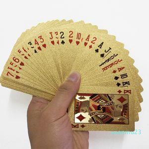 Оптово-24K Gold Игра в карты для игры в покер Колода Gold Foil Poker Set Пластиковые карты Магия Водонепроницаемый карты Магия NY086