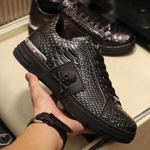 Hommes crâne Échelle Designer Sneakers Top Cow en cuir noir de haute qualité Ins Pop Mode Femmes à la mode Chaussures Casual