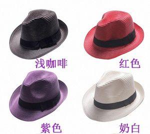 Unisexe Femmes Mode Hommes Fedora Trilby Gangster Cap Summer Sun Beach Straw Hat Panama Femme Jazz Hat d24t #