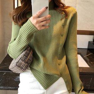 Botón Lucyever Moda cuello alto de punto suéteres de las mujeres de Corea floja que basa la mujer con capucha de invierno caliente grueso suéter de la Mujer