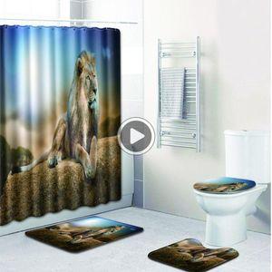 Lion Motif d'impression ANTIDÉRAPANTS ome toilettes Pad er au Mat + Semeur Rideau Set Tina