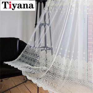 Tiyana Beige pizzo tenda pura tenda pannelli Cucina Tende Drape balcone Trattamenti P022D3 Y200421