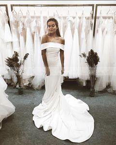 Simple Long Mermaid Wedding Dresses Off Shoulder Boat Neck Cowl Back Elegant Sweep Train Wedding Gowns Custom Made