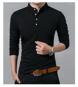 Düğmeler Erkek Kasetli Uzun Kollu Elbise Erkek Moda Standı Yaka Tişörtler Designer ile Pamuk Kazak Tshirts