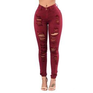 Femmes Jeans Button taille haute poches Trous Zipper Denim Sexy Skinny Jeans Pantalons longs Mode personnalité C153 Pantalons Torn