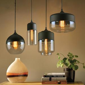 قلادة الحديثة الشمال أضواء الزجاج لوفت E27 E26 لمبة LED المطبخ شنقا مصابيح مصابيح غرفة نوم مطعم بار غرفة المعيشة