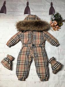 Inverno Nuovo nato bambino copre il 90% di piumino d'anatra ragazze dei neonati ispessimento Tute con pelliccia reale Snow Kids Suit