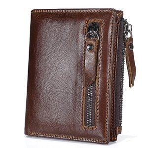Luxury Mens Genuine Leather Wallet With Zipper Money Clip Designer Credit Card Holder Coin Purses Pouch Wedding Gifts For Man