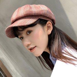 Otoño femme boina coreano retro de la tela escocesa de las mujeres del sombrero del diseño del arte francés británica informal estilo octagonales Newsboy pintores casquillo gorra de visera