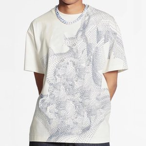 20FW High End Sketch Printed Tee Respirant été T-shirt décontracté High Street manches courtes Hommes Femmes Outdoor solide Tee HFYMTX1023
