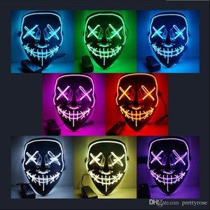 Бесплатная доставка 10colors Halloween Horror маски LED Светящиеся маски черный фон холодный свет маски Halloween Rave Purge Маски Horror водить маски