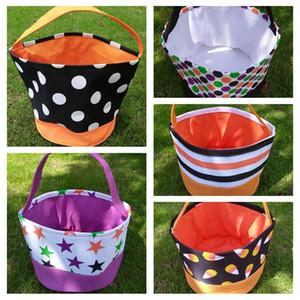 Coleção dos doces do Dia das Bruxas Presente Balde de impressão do envoltório Meninas Meninos Criança Bag Trick or Treat Handle Bolsa Festival armazenamento Tote Basket LJJP422