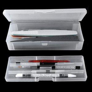 Dupla camada do retângulo translúcido plástico Caixa de armazenamento prego escova pontilhado Drawing Pen Polimento Sponge Tampão Caso Container