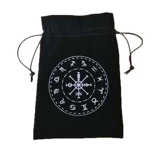 Портативной кулиска толстого бархата Открытка сумки черных карт игра-12 для хранения Constellation Bag 3шта Таблицы символов 13x18cm Таро qylHBf mywjqq