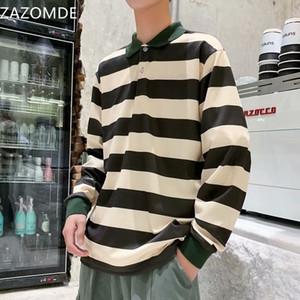 Camisa rayada ZAZOMDE Los hombres de algodón de manga larga camisetas Casual 2020 Otoño Nuevo Hombre camisa de gran tamaño más el tamaño de la moda hombres