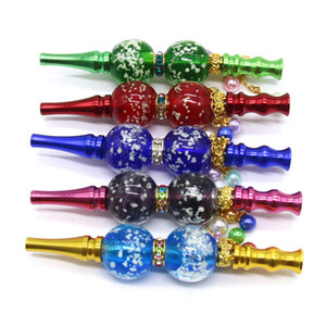 Luminous Blunt Joint Holder Metal Hookah Mouthpiece Glow Smoking Mouth Tips Mouthtip for Shisha Narghile luxury Diamond Pendant Drip Tips