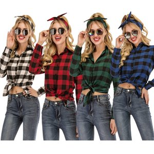 new women's casual yarn-dyed plaid long sleeve shirt JB2E
