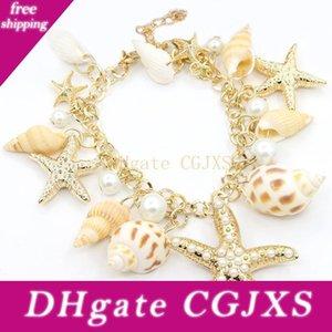 Charm Bilezik Okyanus Stil Çoklu Denizyıldızı Sea Star Conch Shell Simüle -Pearl Zinciri Plaj Bilezik Bileklik