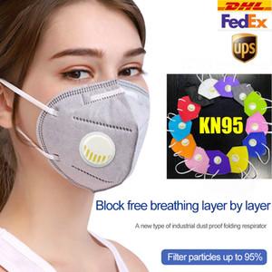 KN95 máscara de 6 capas de colores diseñador de la cara máscara de lujo de carbono activado reutilizable transpirable respirador Válvula protector facial protectora Negro