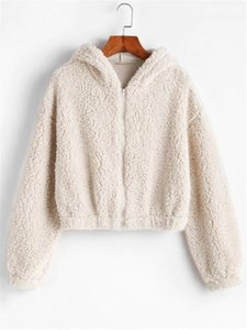 Tops 2020 Autumn Winter Women Crop Top Hoodies Solid Zipper Long Sleeve Plush Sweatershirt Hooded Fleece Warm Hoodie Cropped