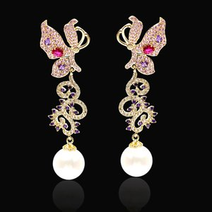 Korean hot-selling fashion tassel color butterfly earrings jewelry women S925 silver needle inlaid zircon pearl earrings high-end gifts