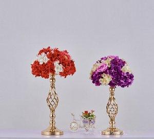 oro in stile europeo ferro placcato centro di nozze candela fiore vaso di metallo titolare bastone piombo strada evento prop