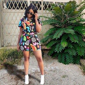 Suelta de manga corta de los mamelucos de manera femenino de Streetwear Casual cuello en V ropa de verano para mujer atractiva del mono de Print Designer