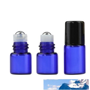 Mini 1ml 2ML Blue Color Roll on Glass Bottle for Essential Oil Empty Perfume Refillable Sample Vial 1 4 Dram W Metal Ball And Black Cap