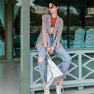 U7mw2 VIMI- Bangkok morango xadrez terno 2019 revestimento da mola nova camada de morango rosa costura temperamento estilo Hepburn