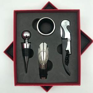 4 pezzi 1set Bottiglia di vino bar apribottiglie Wine Opener Corkscrew versatore Stopper a goccia Ring Set KKA8047