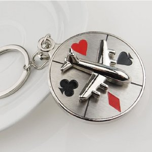 2020 New Poker Aircraft Airplane Turn Compass Keychain for Man Car keyrings Female Women's bags Pendants Accessories Men Jewelry