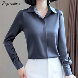 Satin longues de femmes élégantes Blouses 2020 Automne manches Vintage Chemises soie Hauts pour dames vêtements de bureau Mode blusas Bouton Chemises
