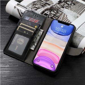 telefone escova Carteira anti-roubo para o iPhone 11 X / XS MAX 7 / 8P XR Luxo Slim Fit de couro superior da tampa do cartão Slots à prova de choque Virar Shell