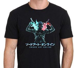 2020 Новая футболка Men New SAO Sword Art Online Кирито Anime Cartoon Мужская Черная футболка Размер S-XXL Короткие Tee Shirt
