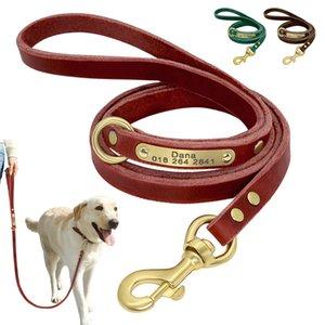 Personalisierte Leder-Hundeleine Gewohnheit gravierte Hunde Gehen Leinen Soft-Hundeleine Seil mit ID-Tag-Namensschild Pet Supplies Y200922