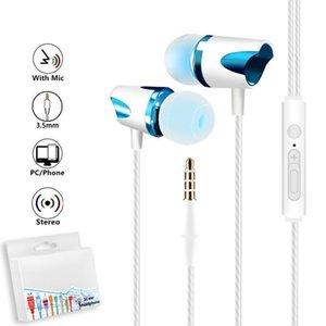 3 .5mm Universal Wired Earphones subwoofer estéreo auscultadores com microfone para Samsung S7 S8 S9 DHL livre