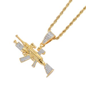 Iced Out цепи цвета золота Bling CZ Sniper Rifle Gun ожерелье хип-хоп ювелирных изделий из нержавеющей стали с твист цепью