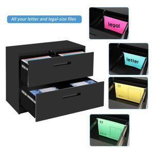 Stati Uniti Stock 2 File File cassetto del Governo Black 2 cassetto TREXM Comodino con serratura Heavy Duty laterale Contenitore Metallo WF192106BAA