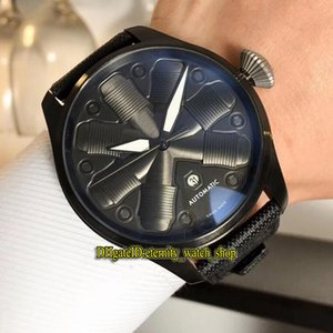 6 Colors Cheap New High Quality 501005 Black Date Aircraft engine shape Dial Automatic Mens Watch PVD Steel Case Leather Strap Sport Watches