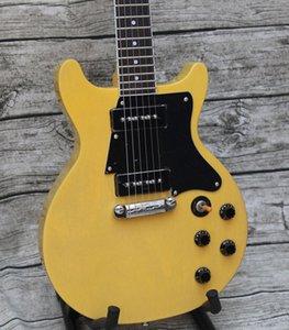 Custom Shop Double Cutaway Junior 1959 Spezielle TV Gelb E-Gitarre Schwarz Schlagbrett, Schwarz P 90 Pickups, Wickel Arround Tailpiece eXfb #