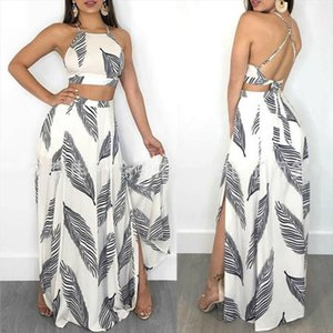 Women 2PCS Sexy Halter Neck Crop Top Long Skirt Beach Wear Dress Outfit Set Clothes New Fashion
