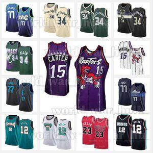 Vince Carter 15 Ja 12 Morant Jerseys 23 MJ Michael Giannis 34 Antetokounmpo MemphisGrizzliesBuck Ray Allen Luka 77 Doncic Bull