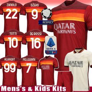 Roma TOTTI Soccer Jersey DZEKO Football Chemise Zaniolo maillot de foot de ROSSI uniformes Kits de Florenzi enfants hommes Kolarov PEROTTI Strootman