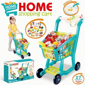 Funny Supermarket Shopping Pretend Play Kitchen Toy for Girls Children Educational Toys Simulated shopping cart Light and Music