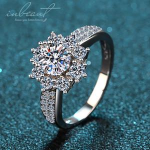 % 100 Gerçek Moissanite Yüzük 925 Gümüş Mükemmel Kesim Geçiş Elmas Testi Geniş kar tanesi Taş Yüzük Fine Jewelry inbeaut