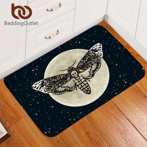 BeddingOutlet Death Moth Entrance Doormat Gothic Skull Area Rug Butterfly Moon Star Bedroom Carpet Polyester Rug Mat 40x60cm Y200527