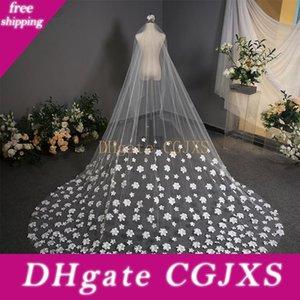 White 3 .8m Cut Edge Cathedral Length Wedding Veil Long Velos De Noiva 1 Tier Applique Bridal Veil With Comb