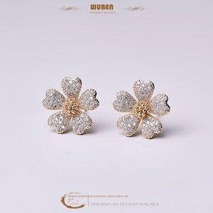 style coréen simples boucles d'oreilles diamant fleur stud oreille hipster rouge boucle d'oreille en ligne créatif boucle d'oreille boucles d'oreilles diamant Daisy stud oreille