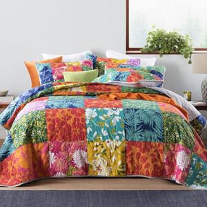 Hecha a mano del edredón de remiendo Set 3 piezas colchas de cama lavada de algodón acolchado edredones Con la funda de almohada King Size Coverlet CHAUSUB