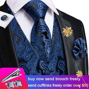 Hi-Tie 20 Color Silk Men's Vests and Tie Business Casual Slim Vest 4PC Hanky cufflinks Set Vest for Suit Blue Paisley Vests 200922